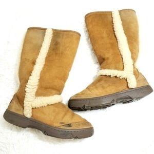Ugg | Tan Sunburst Tall 5218 Suede Sherpa Boots